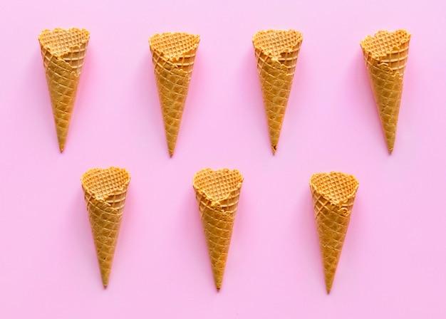 Vista aérea de cones de waffle de sorvete