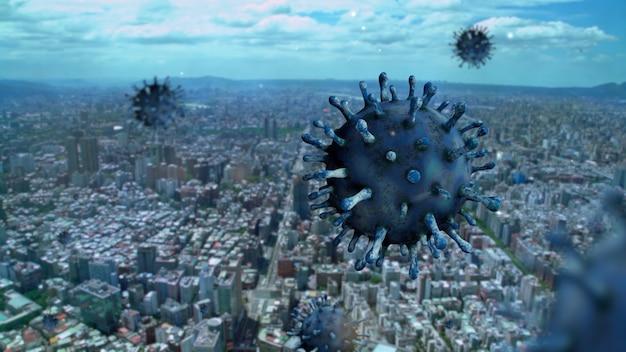 Vista aérea de edifícios altos de taiwan na capital com o conceito coronavirus 2019 ncov