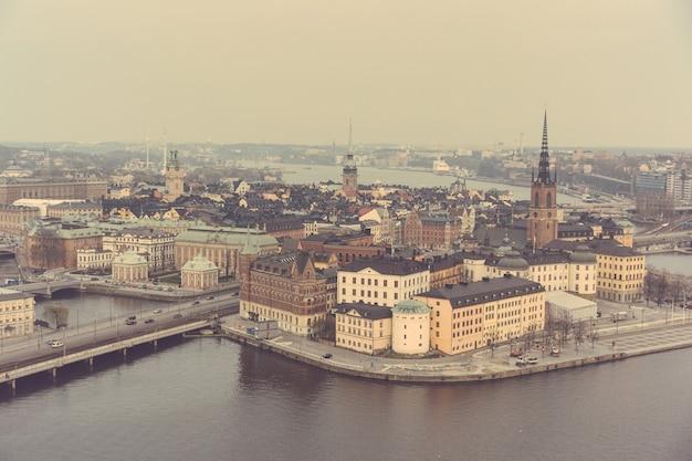 Vista aérea, de, estocolmo, cidade velha