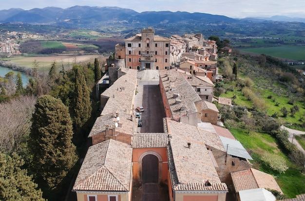 Vista aérea, de, filacciano, com, del, drago, castelo, perto, roma, itália