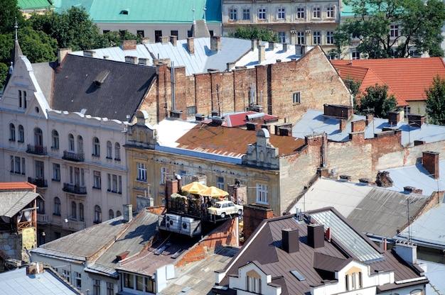 Vista aérea de lviv da prefeitura, ucrânia