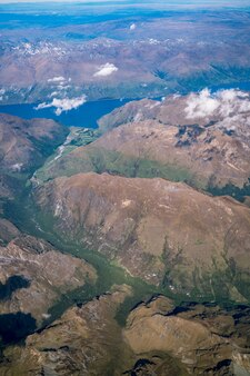 Vista aérea, de, montanha, e, paisagem lago, de, avião, acima, montanha, perto, queenstown, nova zelândia