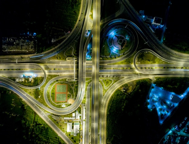 Vista aérea, de, paisagem, bonito, noturna, estrada,