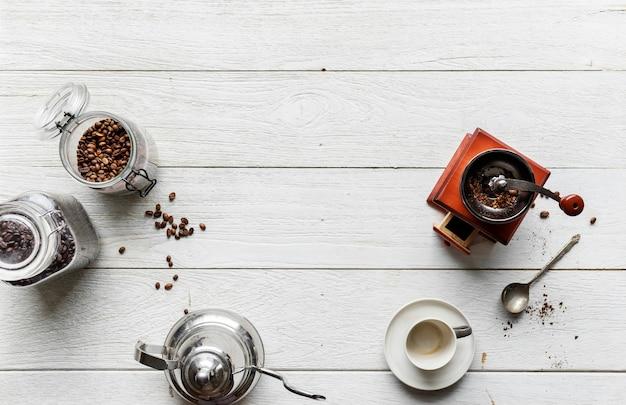 Vista aérea, de, pessoas, fazer, café gotejamento