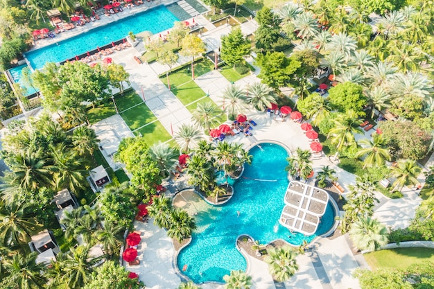 Vista aérea, de, piscina
