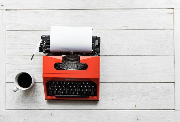 Vista aérea, de, retro, typewriter
