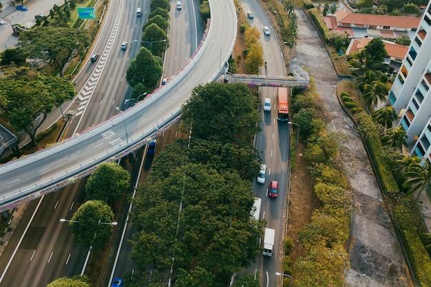 Vista aérea, de, rodovias