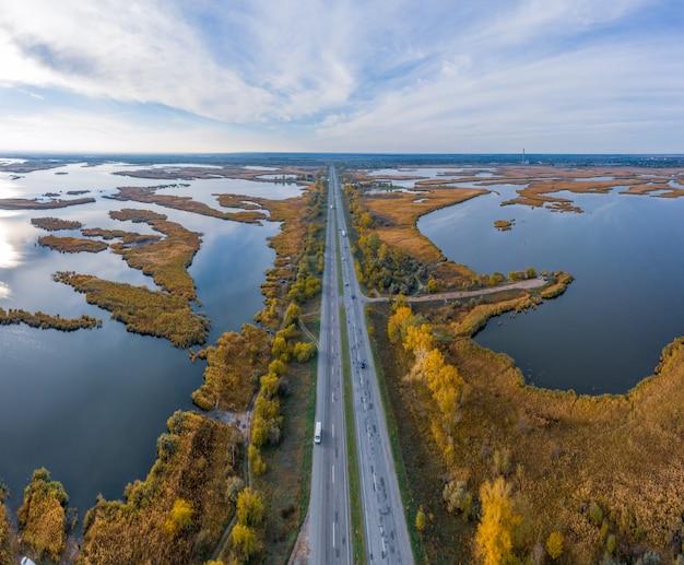 Vista aérea de samarskie plavni no dnieper, na ucrânia