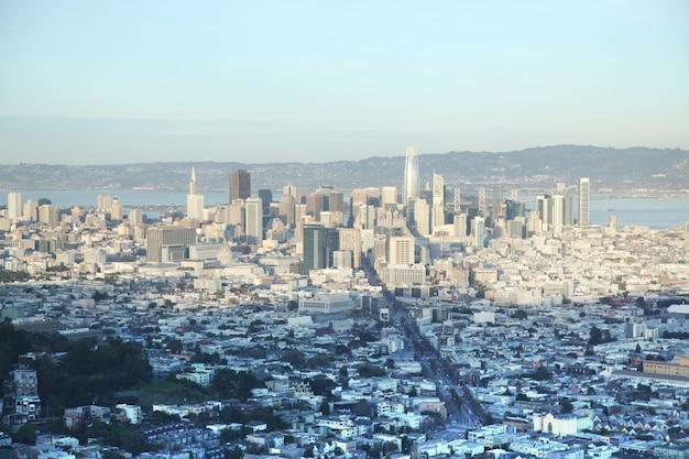 Vista aérea, de, são francisco, antes de, pôr do sol, de, gêmeo, picos, califórnia, eua