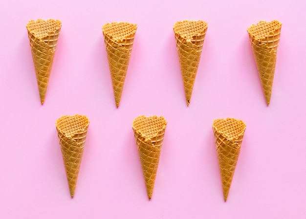 Vista aérea, de, sorvete, waffle, cones