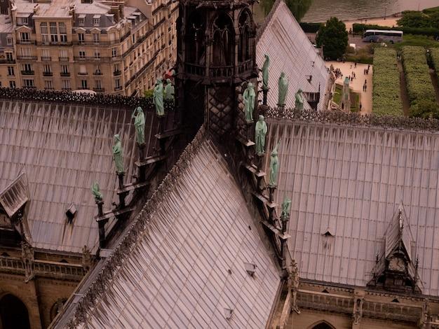 Vista aérea, de, telhado