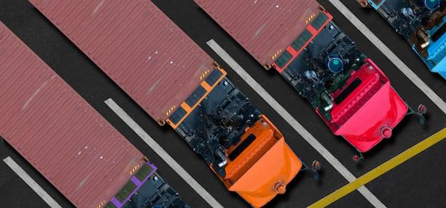 Vista aérea de topo de caminhões no estacionamento
