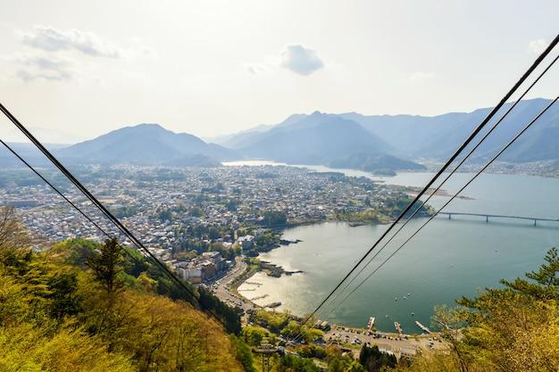 Vista aérea de topo do lago kawagchiko