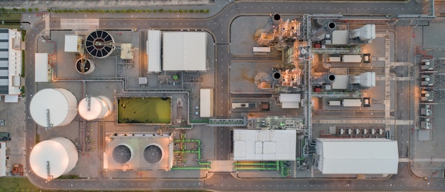 Vista aérea de turbina a gás usina elétrica