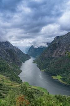 Vista aérea de um belo fiorde norueguês, o sognefjord, vertical.