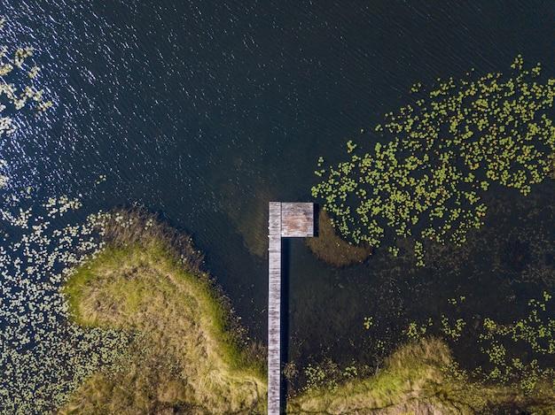 Vista aérea de um caminho de madeira sobre a água perto de uma costa gramada
