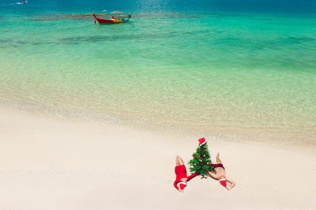 Vista aérea de um casal apaixonado com árvore de natal na praia
