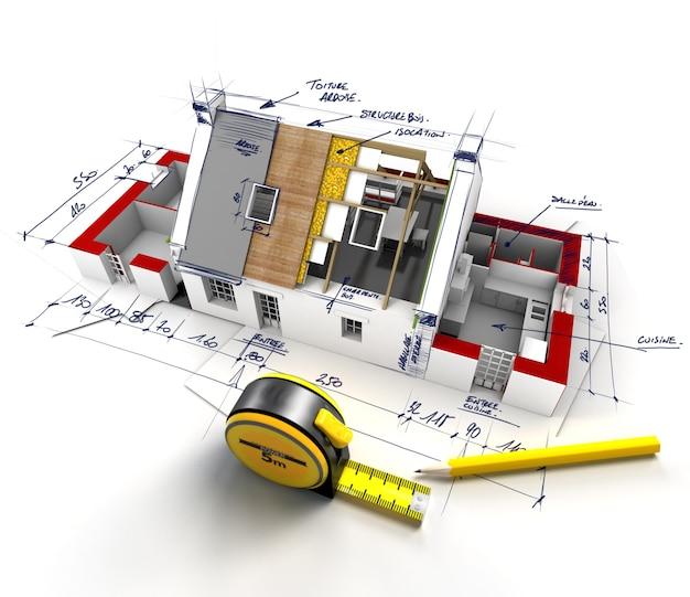Vista aérea de uma casa em construção com notas explicativas