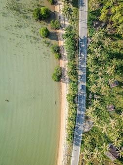 Vista aérea de uma estrada ao lado das árvores e do lago