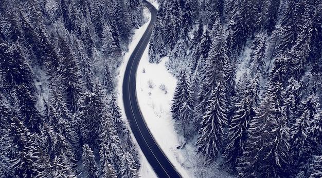 Vista aérea de uma estrada de montanha na floresta de inverno. dolomitas, alpes, itália.