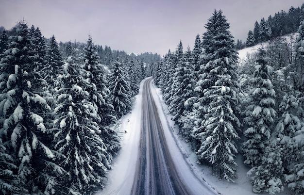 Vista aérea de uma estrada de montanha na floresta de inverno