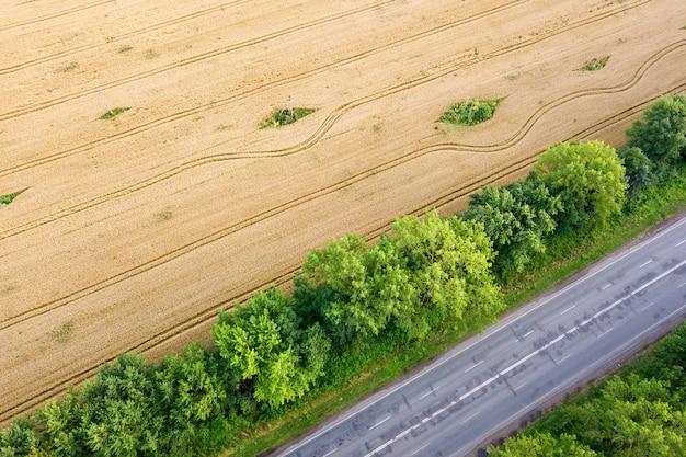 Vista aérea de uma estrada entre campos de trigo amarelo e árvores verdes
