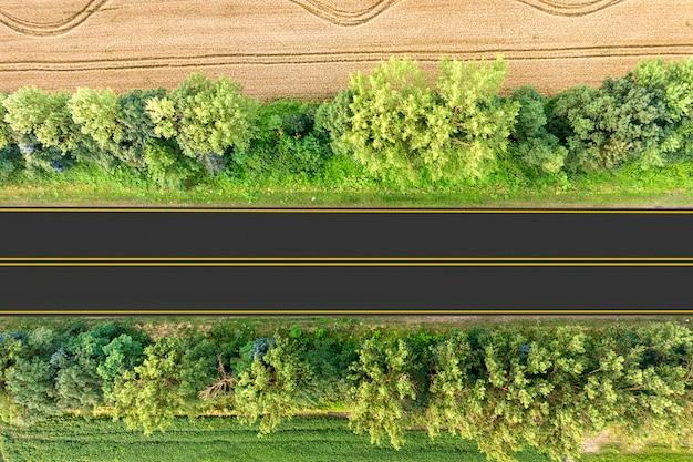 Vista aérea de uma estrada entre campos de trigo amarelos e árvores verdes.