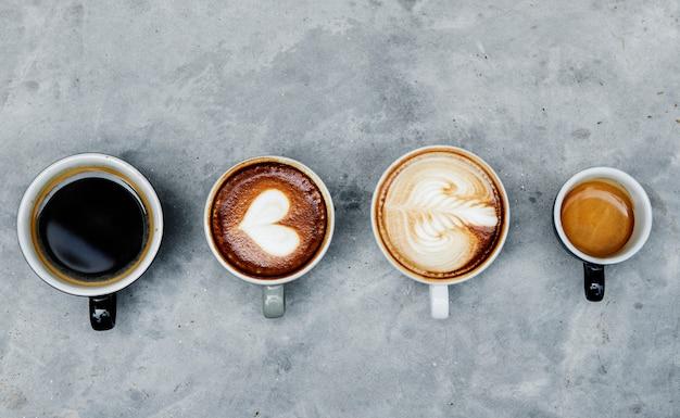Vista aérea, de, vário, café