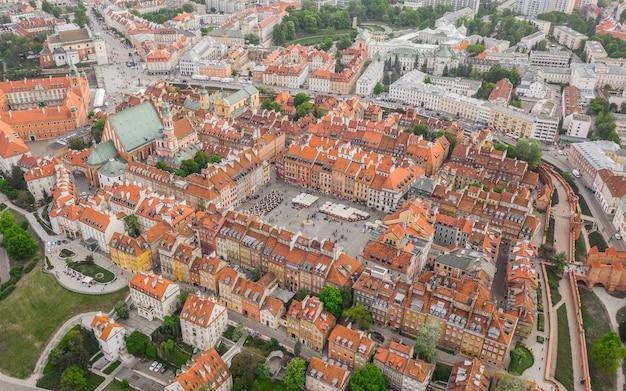 Vista aérea de varsóvia. parte velha da cidade