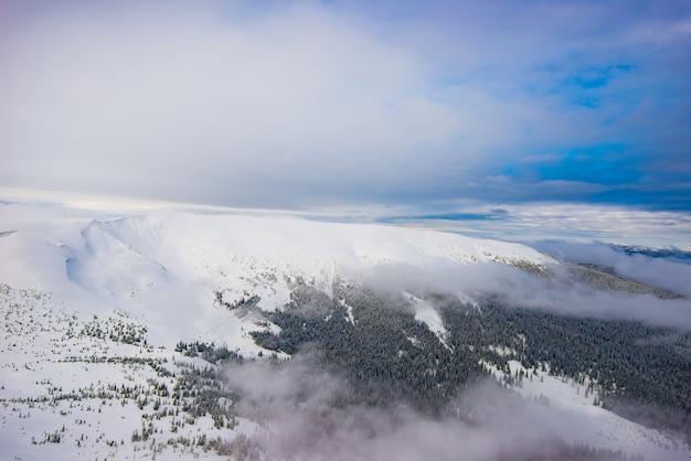 Vista aérea de vistas deslumbrantes sobre a floresta e encostas nevadas e nuvens. o conceito de recreação de inverno e natureza intocada. conceito de temporada de esqui. copyspace