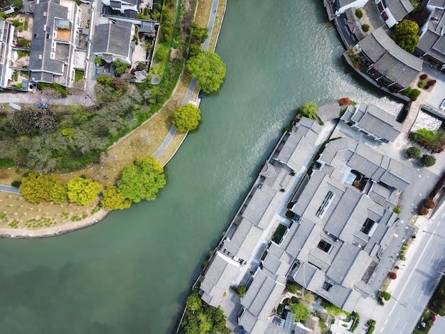 Vista aérea do antigo complexo do cais de suzhou panmen