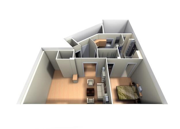 Vista aérea do apartamento sem telhado com foco na sala de estar e no quarto