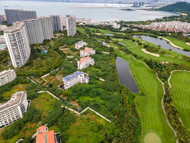 Vista aérea do campo de golfe