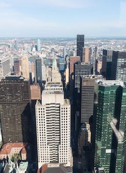 Vista aérea do centro de manhattan em nova york
