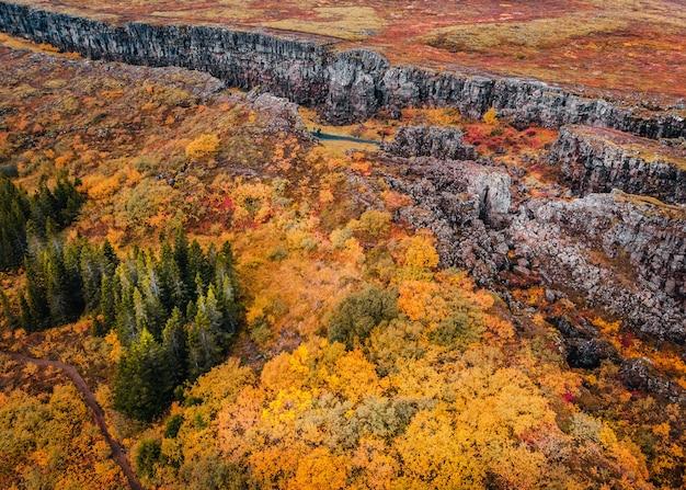 Vista aérea do desfiladeiro no parque nacional thingvellir, islândia, paisagem de outono