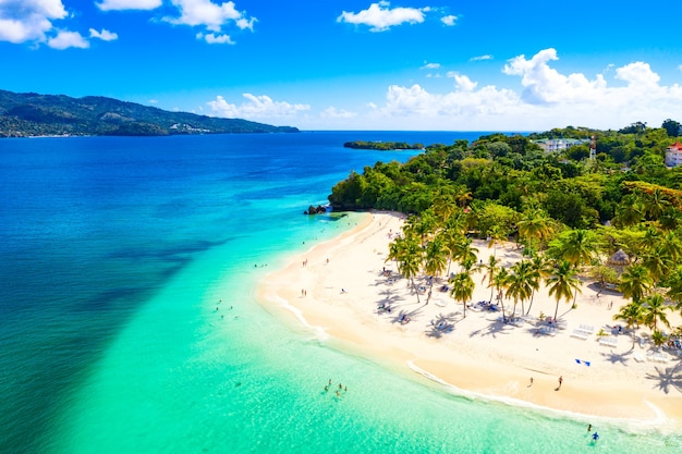 Vista aérea do drone da bela praia da ilha tropical caribenha cayo levantado com palmeiras. ilha bacardi, república dominicana. fundo de férias.