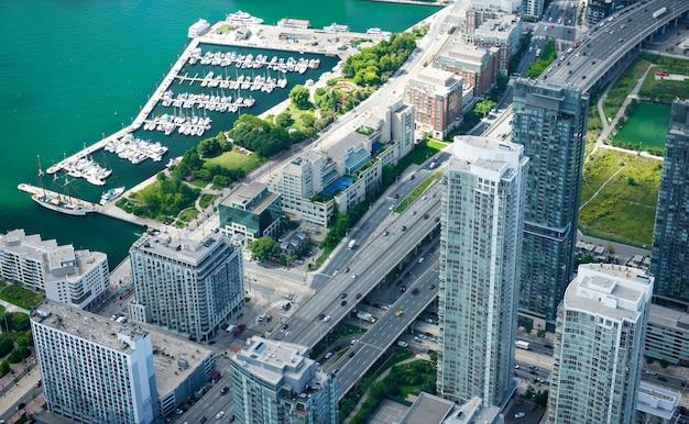 Vista aérea do horizonte da cidade de toronto, canadá