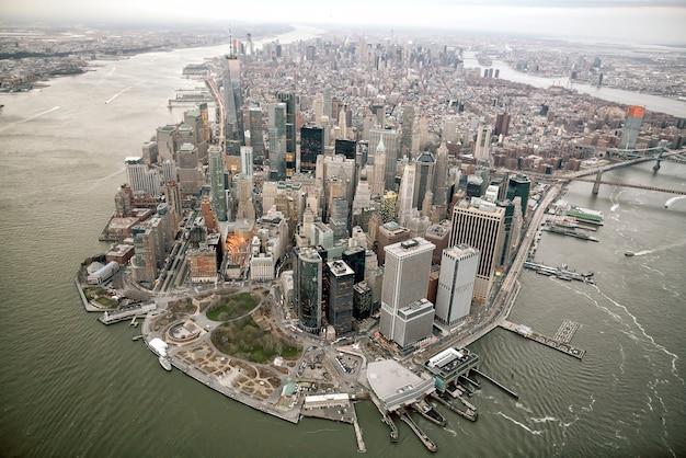 Vista aérea do horizonte de manhattan, cidade de nova york nos estados unidos