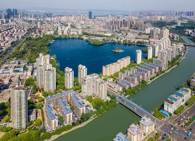 Vista aérea do lago mochou em nanjing