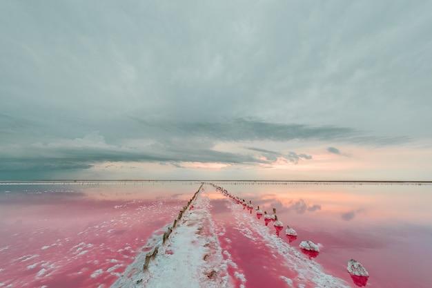 Vista aérea do lago rosa e da praia arenosa