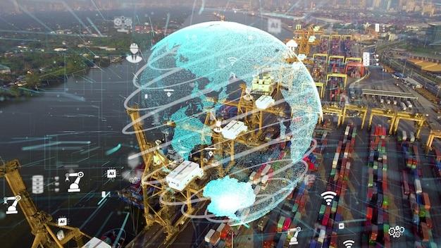 Vista aérea do porto de embarque com gráfico de modernização da tecnologia de rede