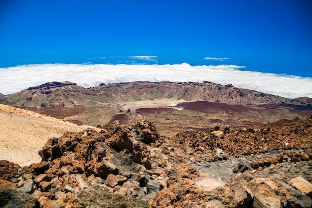 Vista aérea do topo do monte vulcânico teide em tenerife, espanha