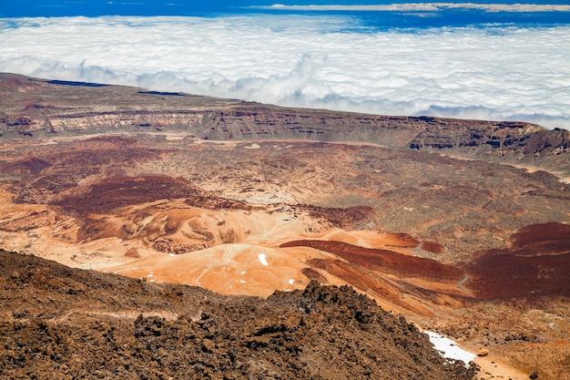 Vista aérea do topo do monte vulcânico teide em tenerife, ilhas canárias, espanha