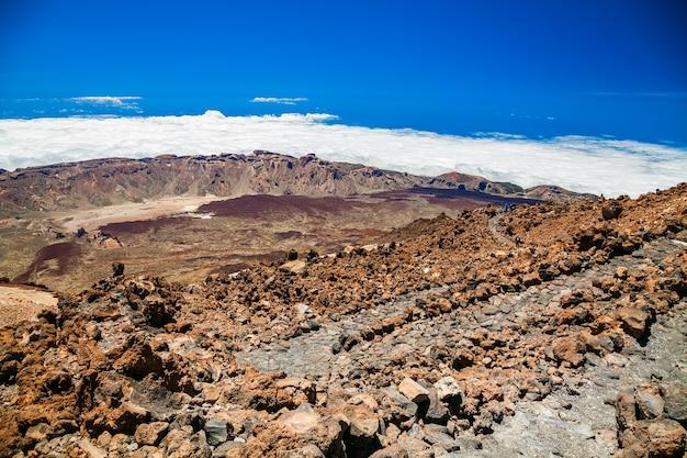 Vista aérea do topo do vulcão teide em tenerife, ilhas canárias, espanha