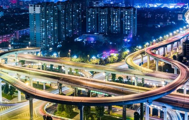 Vista aérea do viaduto de chengdu