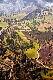 Vista aérea dos campos agrícolas