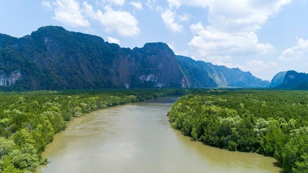 Vista aérea, drone, tiro, de, bonito, natural, paisagem, rio, em, mangrove, floresta, e, altas montanhas, em, phang nga, província, tailandia