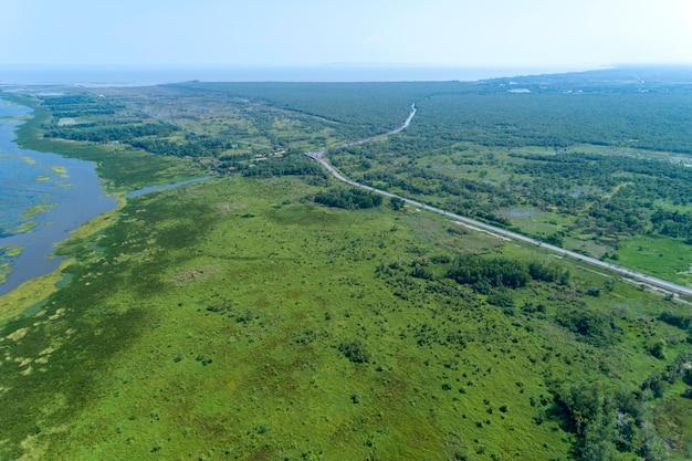 Vista aérea, drone, tiro, de, verde, floresta, e, lago, bonito, natureza selvagem, paisagem