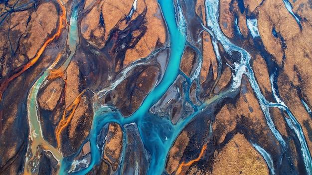 Vista aérea, e, vista superior, rio, em, islândia