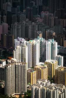 Vista aérea hipnotizante da cidade de hong kong hong